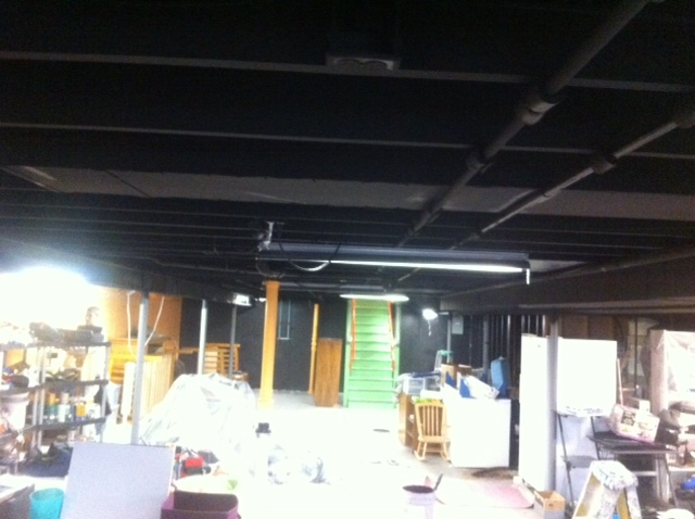 Painting Exposed Wood Ceiling: Exposed Wood Ceiling Painting In Chesterfield